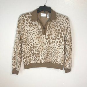 🦋3/$20 ALFRED DUNNER Collared Leopard Sweater